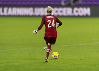 ORLANDO, FL - JANUARY 22: Jane Campbell #24 passes the ball during a game between Colombia and USWNT at Exploria stadium on January 22, 2021 in Orlando, Florida.