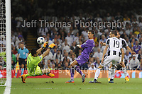 Christiano Ronaldo of Real Madrid scores his sides third goal during the UEFA Champions league final  between Juventus and Real Madrid at the National Stadium of Wales on Saturday 3rd June 2017<br /> <br /> <br /> Jeff Thomas Photography -  www.jaypics.photoshelter.com - <br /> e-mail swansea1001@hotmail.co.uk -<br /> Mob: 07837 386244 -