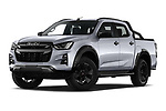 Stock pictures of low aggressive front three quarter view of 2021 Isuzu D-Max V-Cross 4 Door Pick-up Low Aggressive