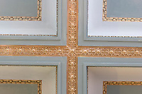 Gold embossed ceiling in the historic downtown drug pharmacy in Juneau Alaska