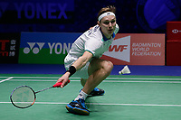 14th March 2020, Arena Birmingham, Birmingham, UK;  Denmarks Viktor Axelsen competes during the mens s singles quarterfinal match with Chinas Shi Yuqi at All England Badminton 2020 in Birmingham