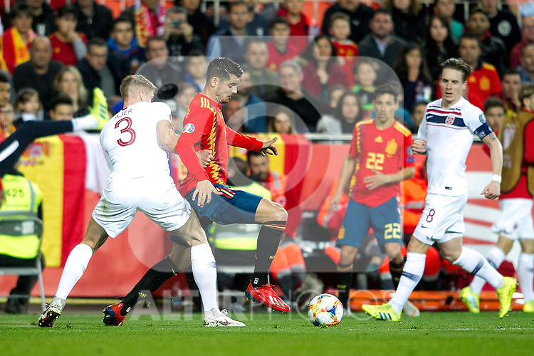 Norway's Kristoffer Ajer, Spain's Alvaro Morata, Spain's Jesus Navas and Norway's Stefan Johansen  during the qualifying match for Euro 2020 on 23th March, 2019 in Valencia, Spain. (ALTERPHOTOS/Alconada)