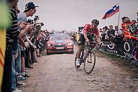 Jens Debusschere (BEL/Lotto-Soudal) at Carrefour de l'arbre<br /> <br /> 116th Paris-Roubaix (1.UWT)<br /> 1 Day Race. Compiègne - Roubaix (257km)