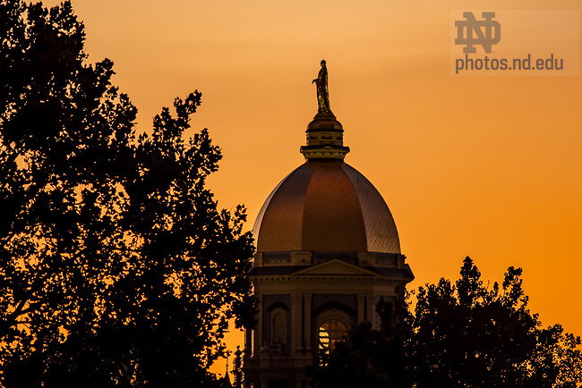 August 18, 2019; Dome at sunset (Photo by Matt Cashore/University of Notre Dame)