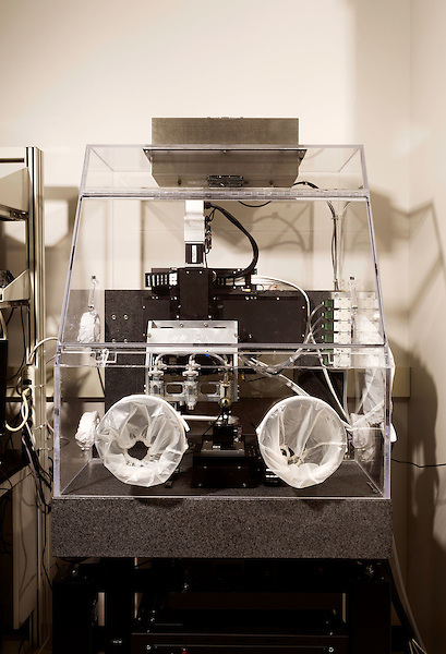 February 11, 2015. Winston Salem, North Carolina.<br />  One of the 3D printers used by  the Wake Forest Institute for Regenerative Medicine to make body part scaffolds that they hope to germinate with living cells to produce transplantable body parts.<br />  Anthony Atala, M.D., is the Director of the Wake Forest Institute for Regenerative Medicine. Dr. Atala is a pioneer in the use of 3D printing in the area of regenerative medicine, focusing on growing new human cells, tissues and organs.