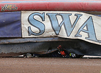 Heat 2: Tom Brennan of Eastbourne ends up under the air fence<br /> <br /> Photographer Rob Newell/CameraSport<br /> <br /> National League Speedway - Lakeside Hammers v Eastbourne Eagles - Lee Richardson Memorial Trophy, First Leg - Friday 14th April 2017 - The Arena Essex Raceway - Thurrock, Essex<br /> © CameraSport - 43 Linden Ave. Countesthorpe. Leicester. England. LE8 5PG - Tel: +44 (0) 116 277 4147 - admin@camerasport.com - www.camerasport.com