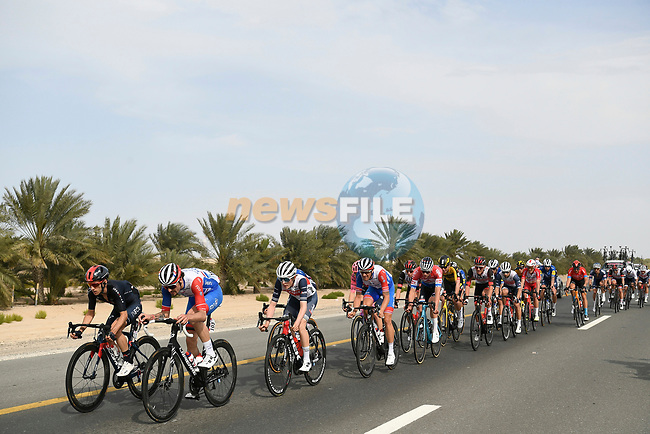 The lead group during Stage 1 of the 2021 UAE Tour the ADNOC Stage running 176km from Al Dhafra Castle to Al Mirfa, Abu Dhabi, UAE. 21st February 2021.  <br /> Picture: LaPresse/Fabio Ferrari | Cyclefile<br /> <br /> All photos usage must carry mandatory copyright credit (© Cyclefile | LaPresse/Fabio Ferrari)