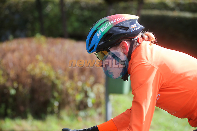 Newly crowned World Champion Anna Van der Breggen (NED) Boels Dolmans Cyclingteam in action during Liege-Bastogne-Liege Femmes 2020, running 135km from Liege to Liege, Belgium. 4th October 2020.<br /> Picture: ASO/Thomas Maheux | Cyclefile<br /> All photos usage must carry mandatory copyright credit (© Cyclefile | ASO/Thomas Maheux)