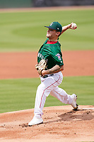 Pitcher Chase Shugart (12) of the Greenville Drive during a game against the Bowling Green Hot Rods on Sunday, May 9, 2021, at Fluor Field at the West End in Greenville, South Carolina. (Tom Priddy/Four Seam Images)