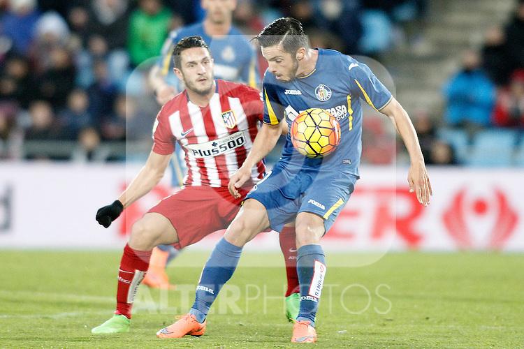 Getafe's Pablo Sarabia (r) and Atletico de Madrid's Koke Resurrecccion during La Liga match. February 14,2016. (ALTERPHOTOS/Acero)