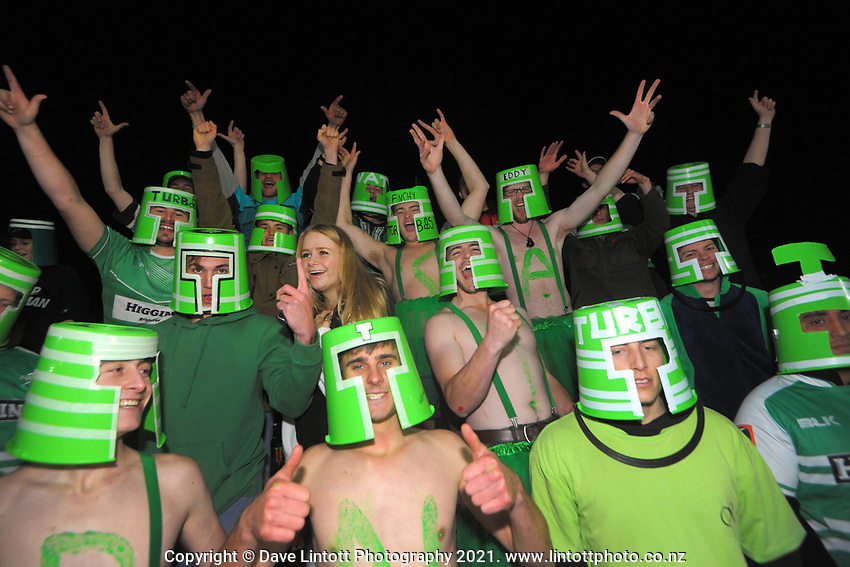 The Manawatu Bucketheads celebrate during the 2021 Bunnings Warehouse Cup rugby match between Manawatu Turbos and Counties Manukau Steelers at CET Stadium in Palmerston North, New Zealand on Friday, 6 August 2021 Photo: Dave Lintott / lintottphoto.co.nz