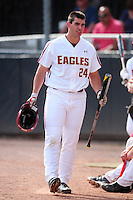 Boston College Eagles left fielder Chris Shaw (24) during a game versus the Hartford Hawks at Pellagrini Diamond at Shea Field on May 9, 2015 in Chestnut Hill, Massachusetts. (Ken Babbitt/Four Seam Images)
