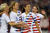 Jacksonville, FL - Thursday April 5, 2018: Alex Morgan scores and celebrates with her teammates during an International friendly match versus the women's National teams of the United States (USA) and Mexico (MEX) at EverBank Field.