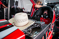 Jul 12, 2020; Clermont, Indiana, USA; Detailed view of the cowboy hat worn by NHRA top fuel driver Steve Torrence during the E3 Spark Plugs Nationals at Lucas Oil Raceway. This is the first race back for NHRA since the start of the COVID-19 global pandemic. Mandatory Credit: Mark J. Rebilas-USA TODAY Sports