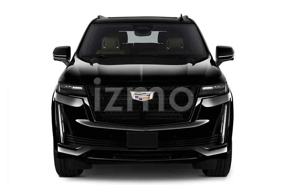 Car photography straight front view of a 2021 Cadillac Escalade Sport 5 Door SUV Front View