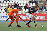 GER - Mannheim, Germany, May 25: During the U16 Boys match between The Netherlands (orange) and Germany (black) during the international witsun tournament on May 25, 2015 at Mannheimer HC in Mannheim, Germany. Final score 3-4 (1-2). (Photo by Dirk Markgraf / www.265-images.com) *** Local caption *** Koen Visser #5 of The Netherlands, Tino Volkert #22 of Germany