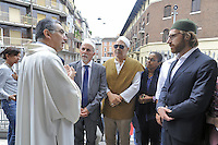 - Milano 31/07/2016 - Imam e rappresentanti del COREIS (Comunità Religiosa Islamica) assistono alla messa nella chiesa di Santa Maria in Caravaggio,  per mostrare la propria solidarietà al mondo cattolico dopo l'uccisione del sacerdote francese Jacques Hamel<br />