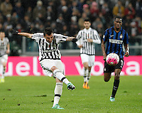 Calcio, Serie A: Juventus vs Inter. Torino, Juventus Stadium, 28 February 2016.<br /> Juventus' Mario Mandzukic kicks the ball during the Italian Serie A football match between Juventus and Inter at Turin's Juventus Stadium, 28 February 2016.<br /> UPDATE IMAGES PRESS/Isabella Bonotto