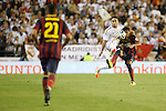 Real Madrid´s Carvajal (L) and F.C. Barcelona´s Neymar Jr during the Spanish Copa del Rey `King´s Cup´ final soccer match between Real Madrid and F.C. Barcelona at Mestalla stadium, in Valencia, Spain. April 16, 2014. (ALTERPHOTOS/Victor Blanco)