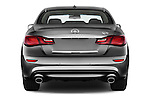 Straight rear view of 2018 Infiniti Q70 Hybrid 4 Door Sedan Rear View  stock images