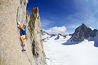 Dougal Tavener attempts to free climb the 'Empire State Building' on the Pilier Rouge du Clocher, France