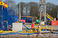 Cuadrilla shale gas service rig preparing for 'fracking' at Weeton, Blackpool, Lancashire. Shale gas is a form of natural gas that is trapped in tiny cracks of rocks buried thousands of feet beneath the surface of the earth..A small company called Cuadrilla Resources became the first in Europe to start drilling for the gas, which has already revolutionised the energy market in America.