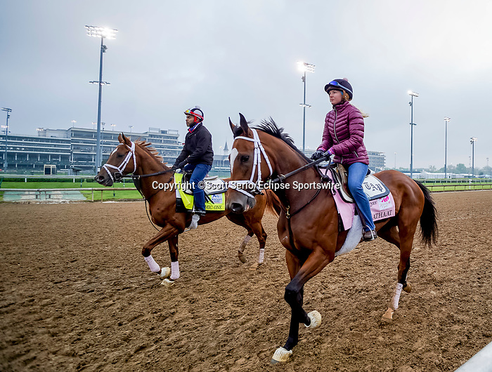 April 25, 2021: Malathaat, trained by trainer Todd Pletcher, exercises in preparation for the Kentucky Oaks at Churchill Downs on April 25, 2021 in Louisville, Kentucky. Scott Serio/Eclipse Sportswire/CSM