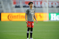 WASHINGTON, DC - MAY 13: Kevin Paredes #30 of D.C. United warming up during a game between Chicago Fire FC and D.C. United at Audi FIeld on May 13, 2021 in Washington, DC.
