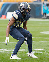 Pitt defensive back Phillipie Motley. The Pitt Panthers defeated the Virginia Cavaliers 31-14 at Heinz Field, Pittsburgh, PA on October 28, 2017.