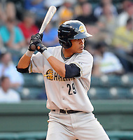 Infielder Kelvin Castro (29) of the Charleston RiverDogs, Class A affiliate of the New York Yankees, in a game against the Greenville Drive on May 27, 2010, at Fluor Field at the West End in Greenville, S.C. Photo by: Tom Priddy/Four Seam Images