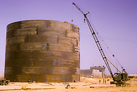 Kuwait November 1966.  KOC Oil Storage Tank Under Construction, Ahmadi.