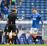 25.07.2020 Rangers v Coventry City: Jamie Barjonas with Willie Collum at full time