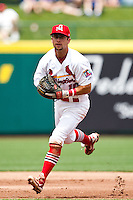 Greg Garcia (10) of the Springfield Cardinals fields a ground ball to the infield during a game against the Arkansas Travelers at Hammons Field on May 8, 2012 in Springfield, Missouri. (David Welker/ Four Seam Images)