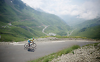yellow jersey Vincenzo Nibali (ITA/Astana) coming down over the top of the Col du Tourmalet (HC/2115m/17.1km/7.3%)<br /> <br /> 2014 Tour de France<br /> stage 18: Pau - Hautacam (145km)