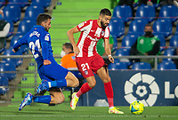 21st September 2021; Estadio Coliseum Alfonso Perez, Getafe,  Madrid, Spain; Men's La Liga, Getafe CF versus Atletico de Madrid; Carrasco takes on Iglesias of Getafe