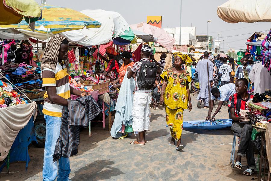 Senegal, Touba.  Street Scene in the Market.