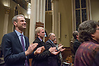 January 20, 2017; Paul Fritts (third from left) and staff celebrate at the close of the Blessing and Organ Recital in the Basilica of the Sacred Heart. (Photo by Barbara Johnston/University of Notre Dame)