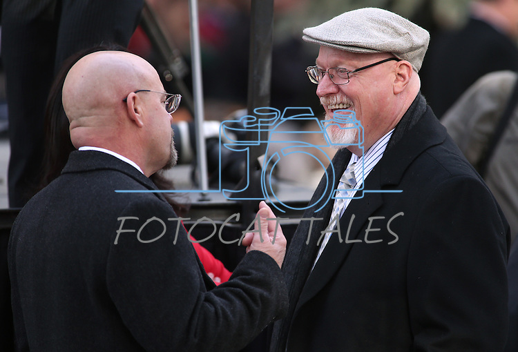 Nevada Assembly Republicans Ira Hansen, left, and Randy Kirner talk before the inauguration at the Capitol, in Carson City, Nev., on Monday, Jan. 5, 2015.<br /> Photo by Cathleen Allison
