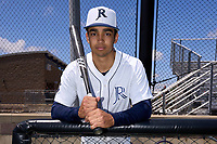 Dallas Jesuit Rangers shortstop Jordan Lawlar (5) poses for a photo after a game against the Richardson Eagles on April 24, 2021 at Wright Field in Dallas, Texas.  (Ken Murphy/Four Seam Images)