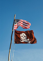 American and pirate flag.
