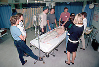 A training session set up to show how to perform CPR and the use of defibrillators. It involves the use of a dummy called Resus Annie. This real life dummy enables students to practice techniques in a realistic manner. ..© SHOUT. THIS PICTURE MUST ONLY BE USED TO ILLUSTRATE THE EMERGENCY SERVICES IN A POSITIVE MANNER. CONTACT JOHN CALLAN. Exact date unknown.john@shoutpictures.com.www.shoutpictures.com...