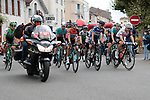 The start of Stage 3 of the Route d'Occitanie 2020, running 163.5km from Saint-Gaudens to Col de Beyrède, France. 3rd August 2020. <br /> Picture: Colin Flockton | Cyclefile<br /> <br /> All photos usage must carry mandatory copyright credit (© Cyclefile | Colin Flockton)