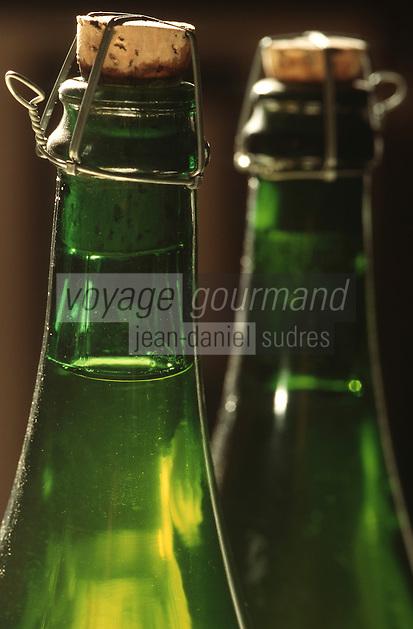 Europe/France/Bretagne/22/Côtes d'Armor/Env de Lannion: Cidre au chateau de Rosambo - Détail du goulot de bouteille de cidre
