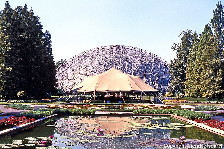 """St. Louis Climatron, Shaw's Gardens. Murphy & Mackey of St. Louis, under patent license from Bucky Fuller, who was """"consultant""""."""