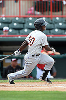 Binghamton Mets second baseman Dilson Herrera (20) at bat during a game against the Erie Seawolves on July 13, 2014 at Jerry Uht Park in Erie, Pennsylvania.  Binghamton defeated Erie 5-4.  (Mike Janes/Four Seam Images)