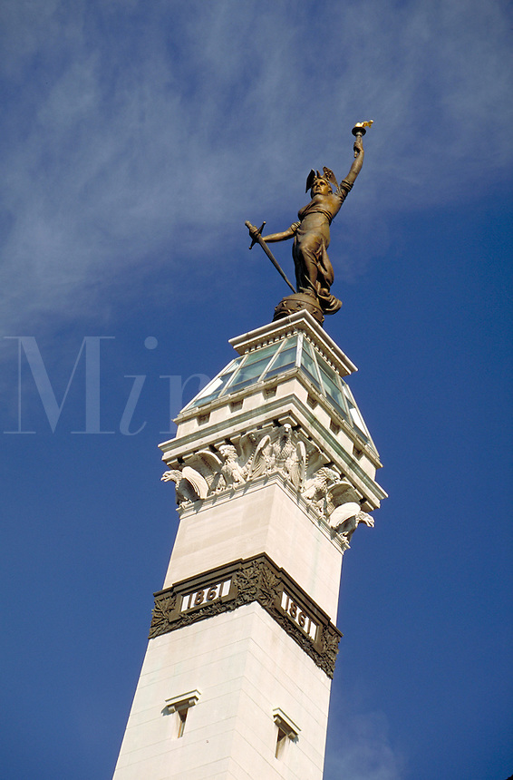 "Sculpture of """"Lady Victory"""" atop the Soldiers and Sailors Monument at Monument Circle in downtown Indianapolis, Indiana. Indianapolis Indiana."