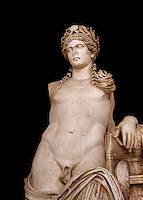 Detail of a second Century Roman statue of Apollo excavated from the Theatre of Carthage. The Bardo National Museum, Tunis, Tunisia. Inv No C939. Against a black background.