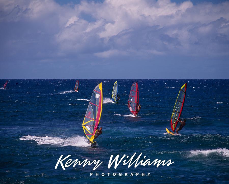 Windsurfers, Ho'okipa Beach Park, Paia, Maui, Hawaii, USA.