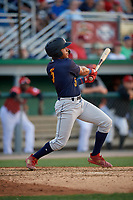 State College Spikes Donivan Williams (5) bats during a NY-Penn League game against the Batavia Muckdogs on July 3, 2019 at Dwyer Stadium in Batavia, New York.  State College defeated Batavia 6-4.  (Mike Janes/Four Seam Images)