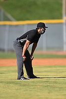 Umpire Brandon Tipton during a game between the Kingsport Axemen and the Bristol State Liners on June 13, 2021 at Boyce Cox Field in Bristol, Virginia. (Tracy Proffitt/Four Seam Images)
